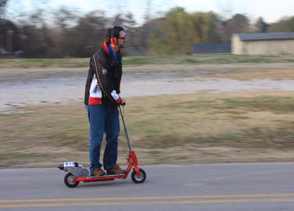 Tim Pickens cruising on his jet powered scooter