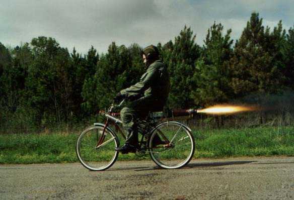 Road testing the rocket bike.